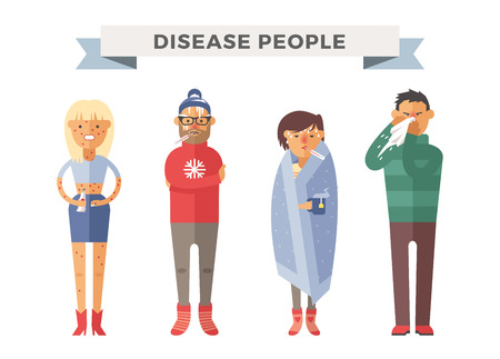 49476827 - people ill vector illustration. seasonal virus attack. people illness, people sick. people cold illustration. people unwell need medical help. virus, health, fever people silhouette. people unwell